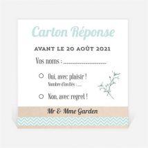 Carton réponse anniversaire de mariage On re-célèbre! personnalisable - Couleur Blanc - 9,5 x 9,5 cm - Monfairepart