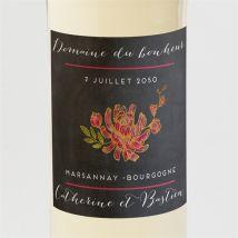 12 Etiquette de Bouteille Mariage Vintage - Rose - Thème : Nature