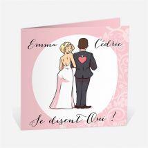 Faire-part mariage Ils se disent Oui! personnalisable - Romantique/Parodie - Couleur Rose - 13,5 x 13,5 cm - Monfairepart
