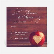 Carton réponse mariage La pomme de l'amour éternel... personnalisable - 9,5 x 9,5 cm - Monfairepart