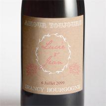 Etiquette de bouteille mariage personnalisable - Couleur Beige et Marron/Kraft - 9,5 x 9,5 cm - Monfairepart