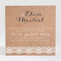 Carton d'invitation mariage Kraft et dentelle personnalisable - Couleur Marron/Kraft - 9,5 x 9,5 cm - Monfairepart