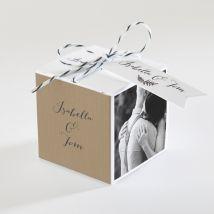 Boîte de dragées mariage Amour toujours personnalisable - Couleur Beige et Marron, Noir et Blanc/Kraft - 4,5 cm - Monfairepart