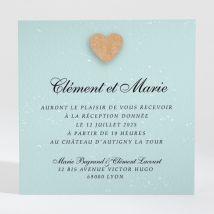 Carton d'invitation mariage Notre roman photo personnalisable - Romantique/Kraft - Couleur Bleu et Beige - 9,5 x 9,5 cm - Monfairepart