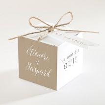 Boîte de dragées mariage Kraft et ficelle personnalisable - 4,5 cm - Monfairepart