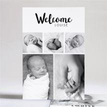 Faire-part naissance Welcome baby! personnalisable - Couleur Noir et Blanc/Noir et Blanc et Gris - 14,5 x 21 cm - Monfairepart