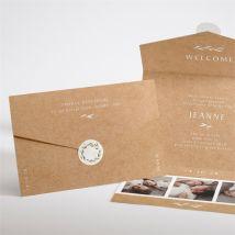 Faire-part naissance Faire-part Enveloppe personnalisable - Couleur Beige, Marron et Blanc/Kraft - 11,8 x 17,4 cm - Monfairepart