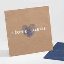 Carton d'invitation mariage Uniques Empreintes personnalisable - Couleur Bleu, Beige et Marron/Kraft - 9,5 x 9,5 cm - Monfairepart