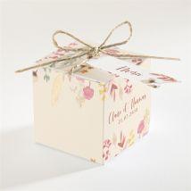 Boîte de dragées mariage Élégance Champêtre personnalisable - Couleur Rouge/Rose et Vert, Jaune et Orange et Beige et Marron - 4,5 cm - Monfairepart