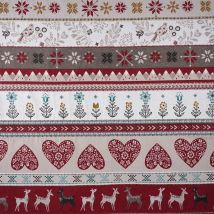 Jacquard Rot/taupe Herzen - MT Stofferie