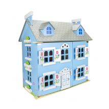 Leomark Blue Wooden Dolls House with Lights, Furniture and Dolls
