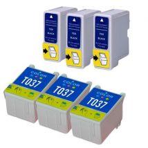 Compatible Multipack Epson Stylus C44 Plus Printer Ink Cartridges (6 Pack) -C13T03614010