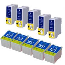 Compatible Multipack Epson T036/T037 5 Full Sets Ink Cartridges (10 Pack)