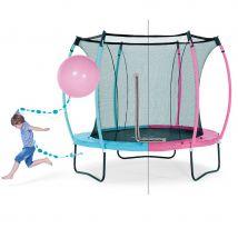Plum 8ft Colours Springsafe Trampoline & Enclosure - Flamingo Pink or Tropic Turquoise