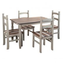 Halea Vintage Rectangular Dining Table And 4 Chairs - Grey