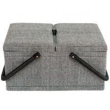 Korbond Hamilton Herringbone Twin Lid Sewing Basket