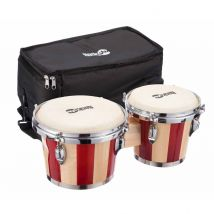 RockJam Professional Bongos with Padded Bag Striped