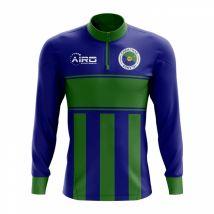 Christmas Island Concept Football Half Zip Midlayer Top (Blue-Green)