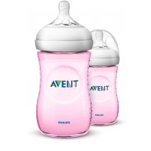 Philips - Natural Baby Bottle Twin Pack Pink (260ml)