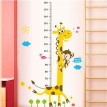 Autocollant Mural à Motif Girafe avec Règle de Mensuration