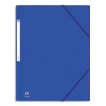 Chemise carte aspect grain mandarine 5/10ème - 3 rabats + élastique - 24 x 32 cm - bleu