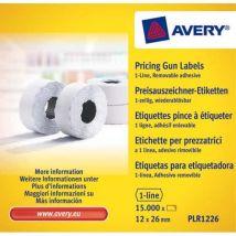 Boîte de 10 rouleaux de 1500 étiquettes Avery PLR1226 pour pince à étiquetter - 1 ligne (8 caractères) - blanches - adhésif amovible