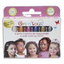 Boite de 6 crayons jumbo, couleurs métalliques - Dimensions d'un crayon : 5,5 cm L x 1 cm diam