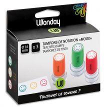 Tampons de notation pré-encrés - 3 couleurs - diamètre 16 mm - blister de 3 tampons