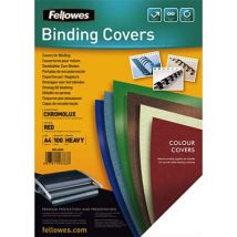 Plats de couvertures chromolux Fellowes - A4 - en carton brillant - 250g/m2 - boîte de 100 - rouge