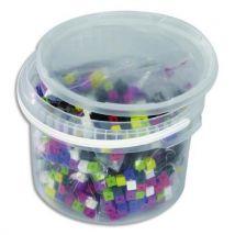 Jeu de construction - baril de 1000 cubes plastique 1 cm - 10 couleurs emboîtables