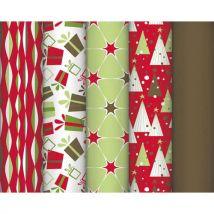 Rouleau de papier cadeau Clairefontaine - 80 g - 10 x 0,7 m - rouge poudré - 5 design assortis - Lot de 15