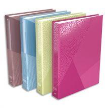 Classeur 4 anneaux Elba Tangram - A4+ - carte pelliculée - dos 4 cm - coloris assortis rose,marron,bleu,vert - Lot de 14