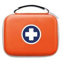 Trousse de secours Laboratoire Esculape - pour 10 personnes - 2 compartiments intérieur transparent - orange