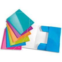 Chemise 3 rabats et élastiques Leitz WOW - carton pelliculé - coloris assortis - lot de 6