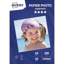 Papier photo brillant Avery - A4 - jet d'encre - 200g - 50 feuilles
