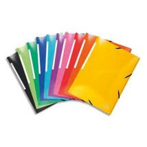 Chemise 3 rabats à élastiques Exacomota Iderama - en carte pelliculée 7/10e - coloris assortis - Lot de 25