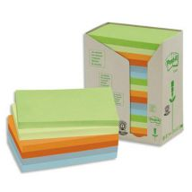 Post-it recyclés - 76 x 127 mm - 100 feuilles - tour 16 blocs - coloris assortis