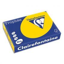 Papier Trophée jaune bouton d'or - teinte vive - 80 g - A4 - ramette de 500 feuilles - Lot de 5