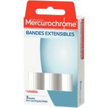 Bandes extensibles Mercurochrome - 2mx7cm - lot de 3