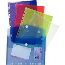 Enveloppes perforées Exacompta -polypropylène 20/100ème - A4 - coloris assortis - paquet de 5
